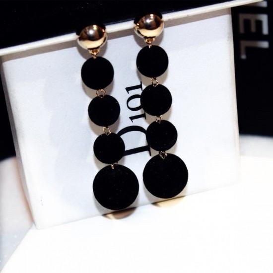 Plush Balls Drop Long Black Color Earrings E-66BK |image