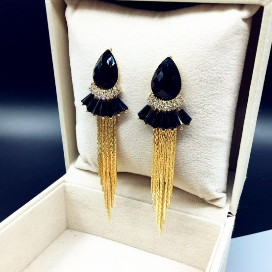 Black Crystal Bohemian Fashion Long Chain Earrings E-69BK |image