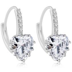 Heart Design White Zircon Crystal Dangle Earrings E-26W