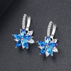 Snowflake Clear Blue Stone Flower Shape Earrings E-30BL