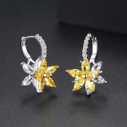 Snowflake Clear Yellow Stone Flower Shape Earrings E-30Y