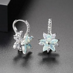 Snowflake Clear Light Green Stone Flower Shape Earrings E-30LG