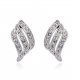 Diamonds Rows Wave Design Silver Plated Stud Earrings E-31S
