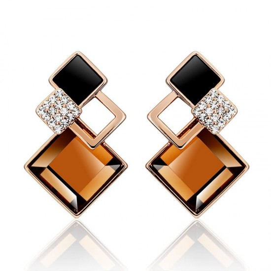 Brown Galaxy Luxurious Cubic zirconia Earrings E-32BR |image