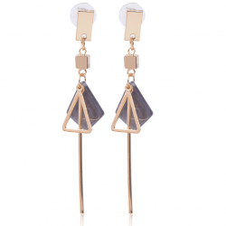Triangle Shell Simple Design Black Marble Earrings E-53BK