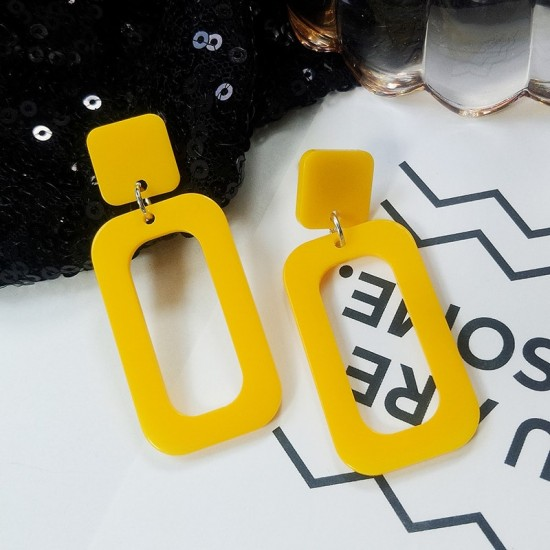Rectangle Acrylic Yellow Dangle Earrings E-59Y |image
