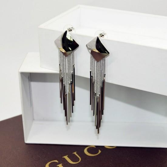 Long Drop Silver Square Tassel Earrings E-62S |image