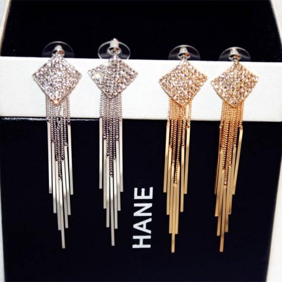 Diamonds Clover Long Chain Silver Tassel Earrings E-64S |image