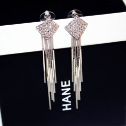 Diamonds Clover Long Chain Silver Tassel Earrings E-64S