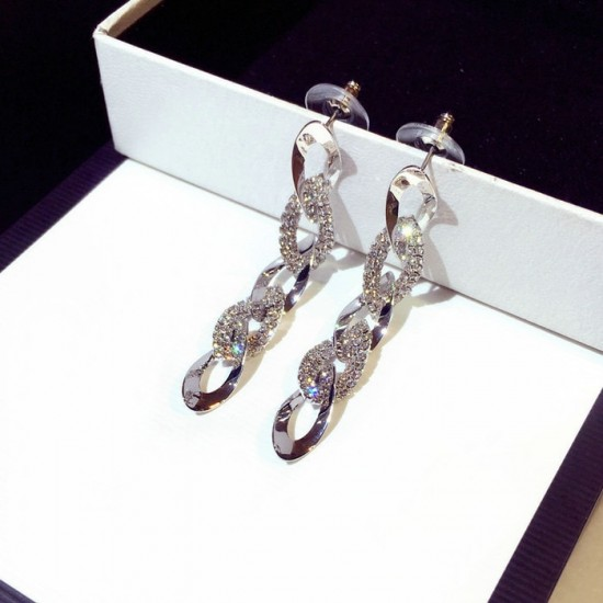 Rhinestone Arrow Hyperbole Long Pendientes Silver Earrings E-65S |image
