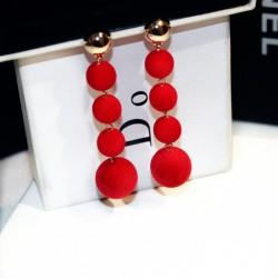 Plush Balls Drop Long Red Color Earrings E-66RD