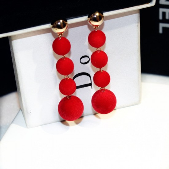 Plush Balls Drop Long Red Color Earrings E-66RD |image