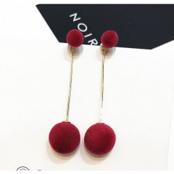 Plush Ball With Gold Chain Red Stud Earrings E-67RD