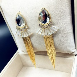 White Crystal Bohemian Fashion Long Chain Earrings E-69W