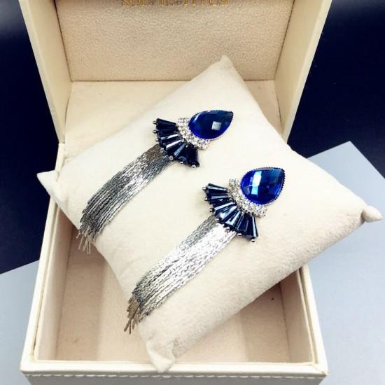 Blue Crystal Bohemian Fashion Long Chain Earrings E-69BL |image