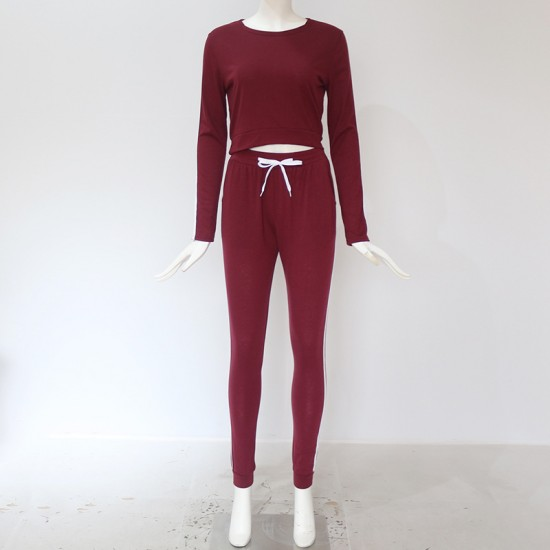Striped cropped Hoodie Maroon joggers set WH-32MR |image