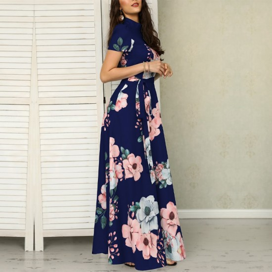 Floral Prints Short Sleeved Blue Casual Maxi Dress WC-223BL |image