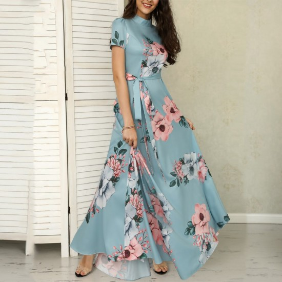 Floral Prints Short Sleeved Light Blue Casual Maxi Dress WC-223LB |image