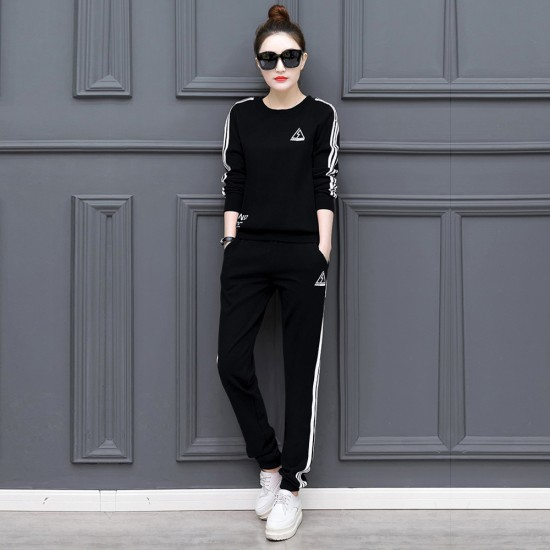 Black with White Contrast Two Piece Sweater Pants Track Suit WH-34BK |image