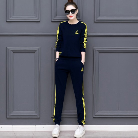 Blue with Yellow Contrast Two Piece Sweater Pants Track Suit WH-34BL |image