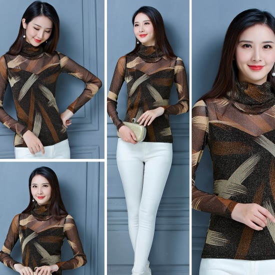 Printed long sleeves strapless bottoming shirt WC-257BR |image
