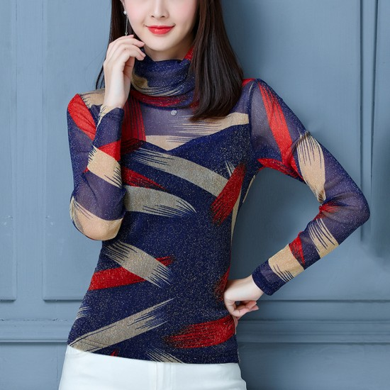 Printed long sleeves strapless bottoming shirt WC-257BL |image
