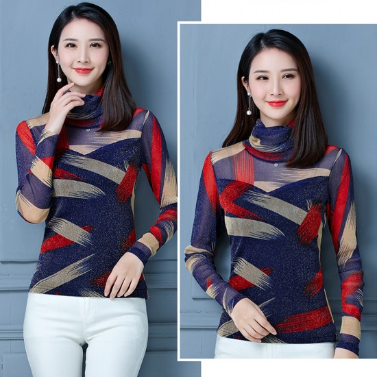 Printed long sleeves strapless bottoming shirt WC-257BL  image