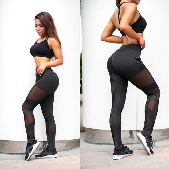 New Mesh Stitching Crossover Elastic Pants WC-204 |image