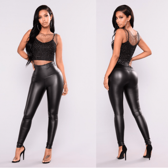 Women's New Faux Leather High Rise Leggings WC-205 |image