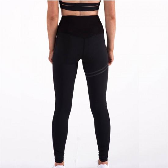 Cross Border Stripes Elastic Offset Black leggings Pants WC-212BK |image