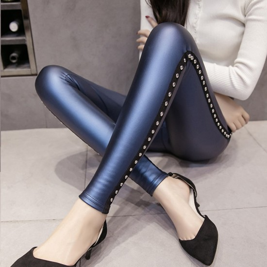Rivets Push Up High Waist Blue Leather Tights Leggings WC-220BL |image