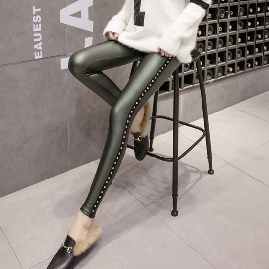 Rivets Push Up High Waist Green Leather Tights Leggings WC-220GN |image