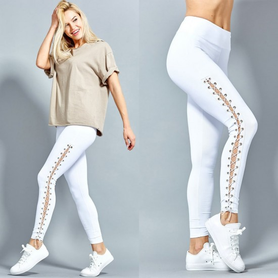 Slim Eyelet Straps White Tight Leggings WC-221WT |image