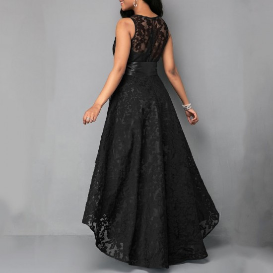 High Low Belted Sleeveless Black Lace dress WC-210BK |image