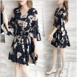 Floral Waist Butterfly Sleeve Black Dresses WC-228