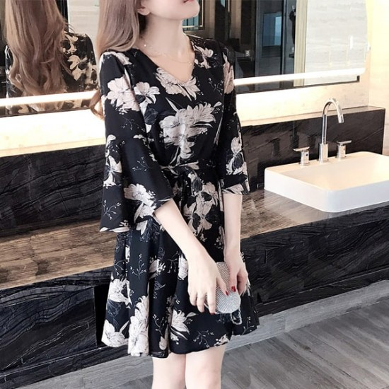 Floral Waist Butterfly Sleeve Black Dresses WC-228 |image