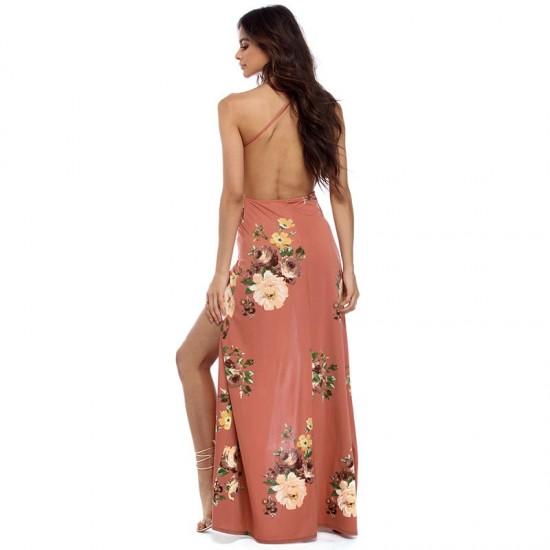 Women Long Floral Design Maxi Dresses WC-214   Image