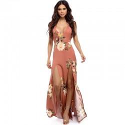 Women's Chiffon Floral Design Maxi Dresses WC-214