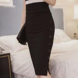 Women Split Fork Slim Side Button Black Skirt WC-254BK