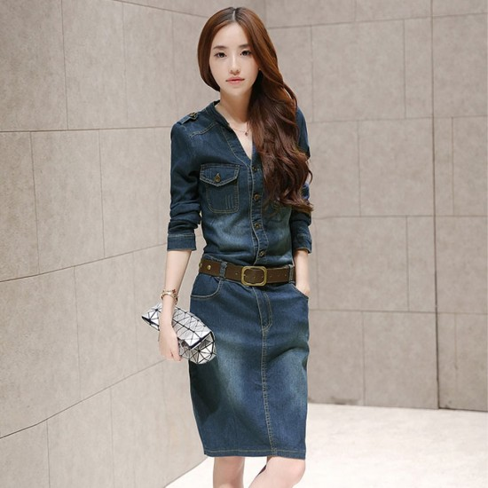 Elegant Blue Long Sleeved Denim Dresses WC-222 |image