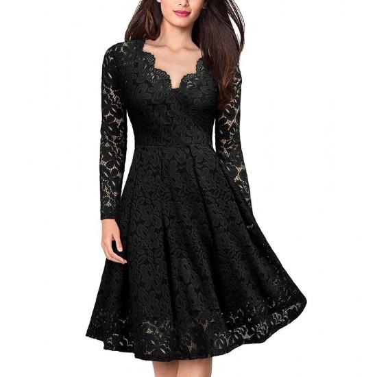 Lace Patchwork V Neck Flare Black Dresses WC-225BK |image