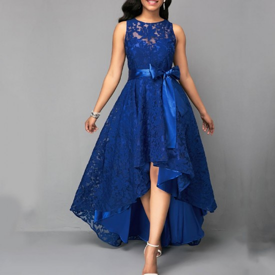 High Low Belted Sleeveless Blue Lace dress WC-210BL |image