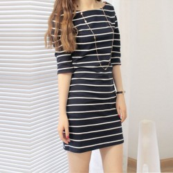 Striped Mid Sleeve Round Neck Black Slim Dresses WC-229BK