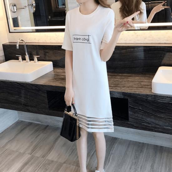 Letter Printed Short Sleeve White Mini Dresses WC-230W |image