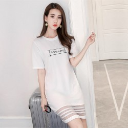 Letter Printed Short Sleeve White Mini Dresses WC-230W