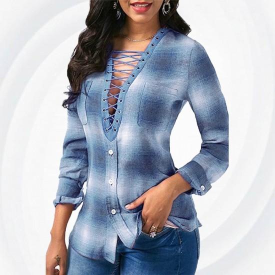 V Neck Button Up Plaid Print Blue Shirts WC-215BL |image