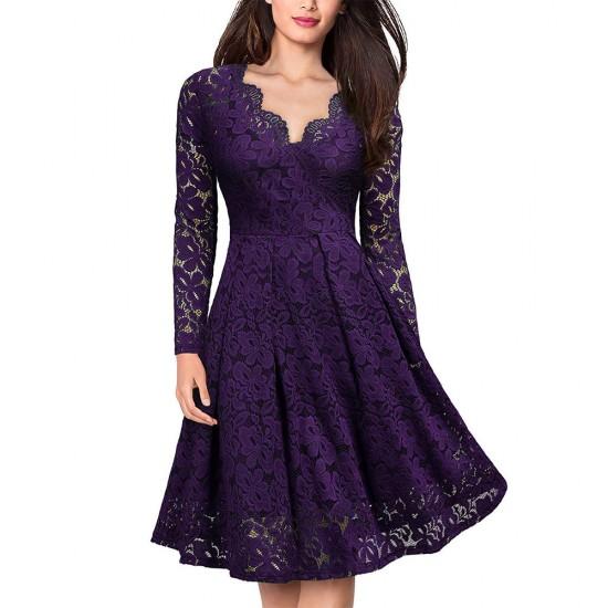 Lace Patchwork V Neck Flare Purple Dresses WC-225PR |image