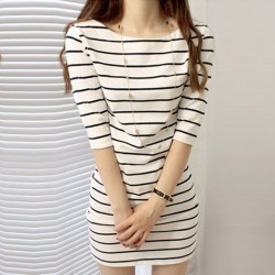 Striped Mid Sleeve Round Neck White Slim Dresses WC-229WT