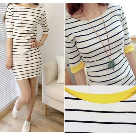 Striped Mid Sleeve Round Neck White Slim Dresses WC-229WT |image