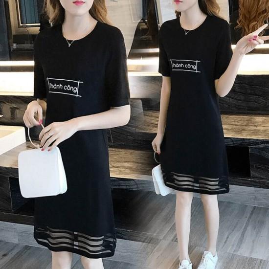 Letter Printed Short Sleeve Black Mini Dresses WC-230BK |image